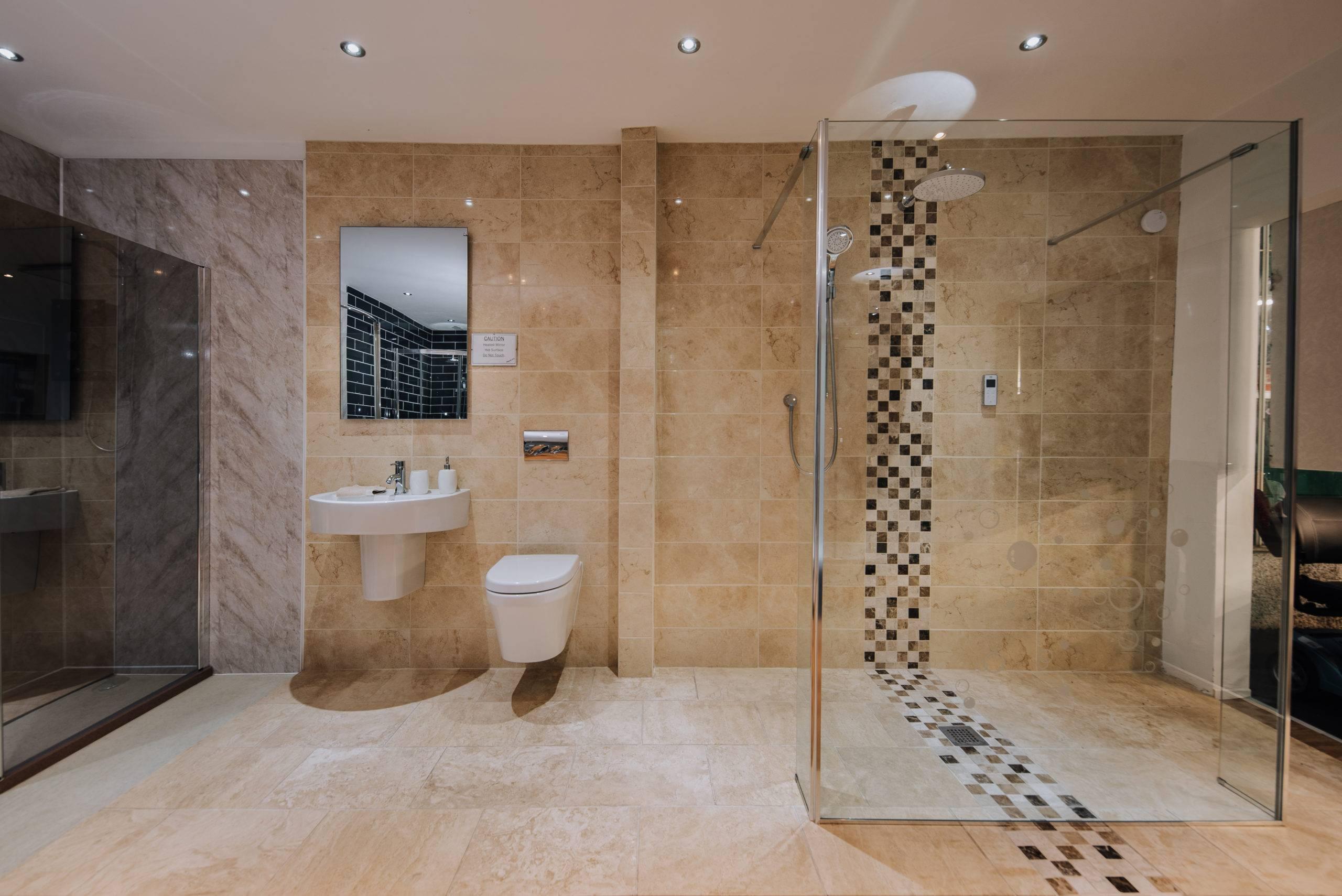 modern tiling-double shower head-glass barrier-